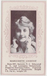 Marguerite Courtot circa 1915 Anonymous Trading Card w/Ornate Pink Borders