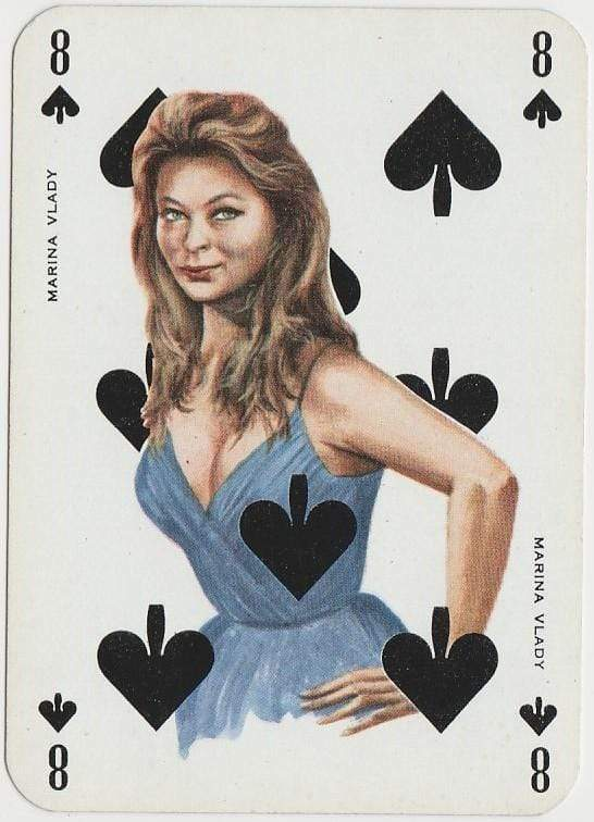 Marina Vlady 1950s Film Star on Blue Stallion Back Playing Card