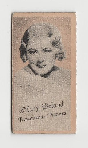 Mary Boland 1937 Peerless Cloudy Weight Machine Trading Card