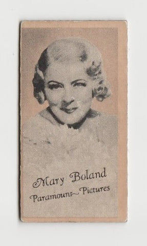 Mary Boland 1930s Aguila Large Paper Stock Trading Card #254