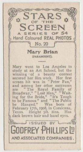 Mary Brian 1934 Godfrey Phillips Stars of the Screen Tobacco Card #20