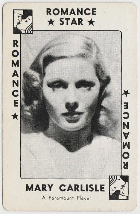 Mary Carlisle 1938 Transogram Movie Millions Game Card