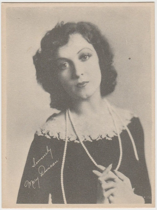 Mary Duncan 1920s Kashin Motion Picture Stars Large Trading Card W618