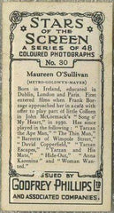 Maureen O'Sullivan 1936 Godfrey Phillips Stars of the Screen Tobacco Card #30