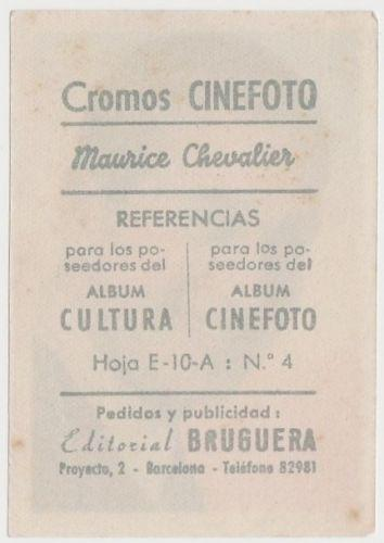 Maurice Chevalier 1930s Editorial Bruguera Cinefoto Paper Stock Trading Card #4