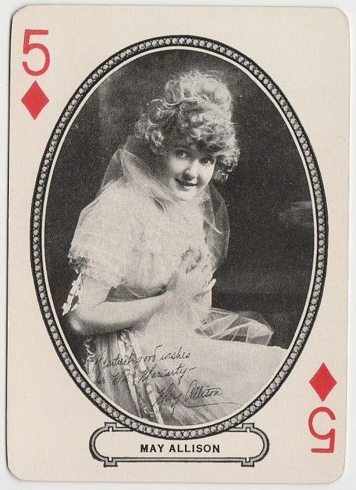 May Allison 1916 MJ Moriarty Silent Film Star Playing Card