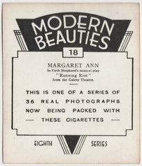 Margaret Ann 1939 BAT Modern Beauties LG Trading Card Series 8 #18