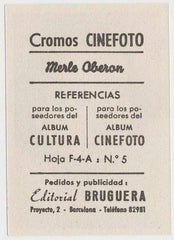 Merle Oberon 1930s Editorial Bruguera Cinefoto Paper Stock Trading Card #5
