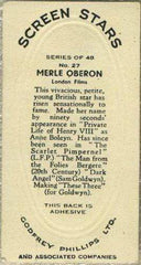 Merle Oberon 1936 Godfrey Phillips Screen Stars Tobacco Card #27