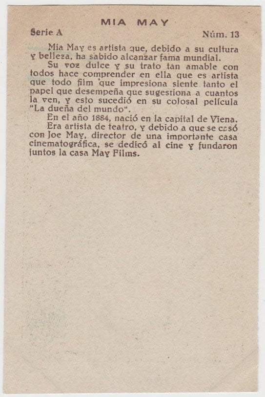 Mia May 1920s Guillen PAPER STOCK Trading Card #A-13