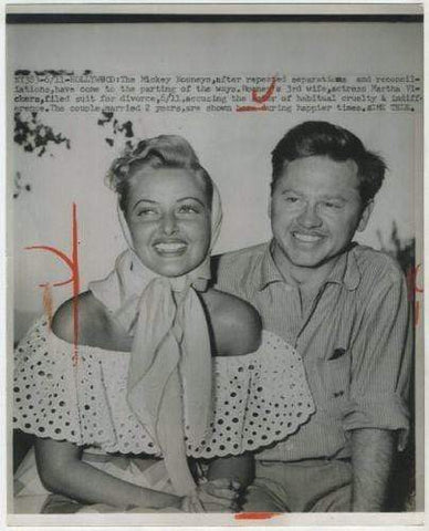 Mickey Rooney and Martha Vickers Divorce 1951 Date Stamped Press Photo