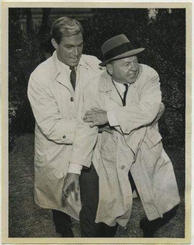 Mickey Rooney + James Franciscus 1961 CBS TV Press Photo with Tag