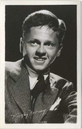 MICKEY ROONEY Vintage 1940s Real Photo EKC Postcard - Movie Star RPPC