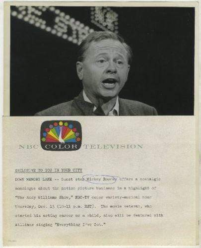 Mickey Rooney Vintage 1962 NBC-TV 7x9 Press Photo with NBC Press Tag