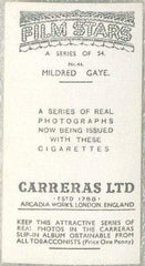 Mildred Gaye 1937 Carreras Film Stars Tobacco Card #44