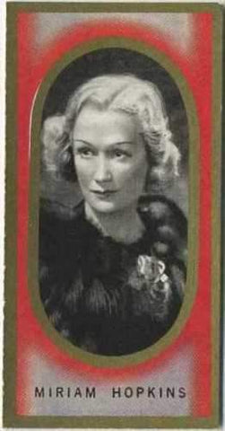 Miriam Hopkins 1938 Carreras Film Favourites Tobacco Card #33 - Movie Star