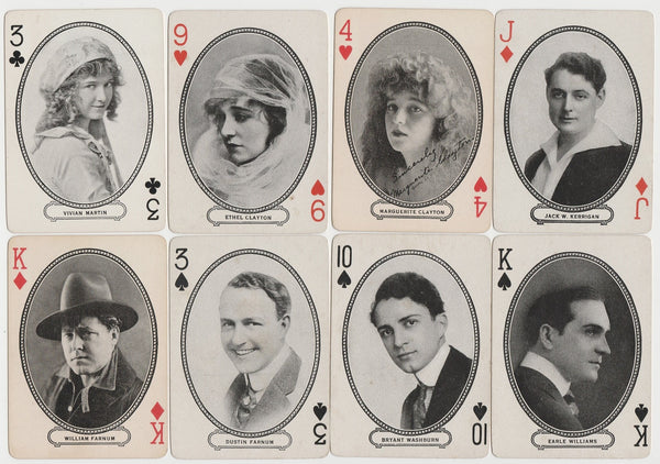 Lot of 10 - 1916 MJ Moriarty Silent Film Star Playing Cards SWEET P WHITE FARNUM