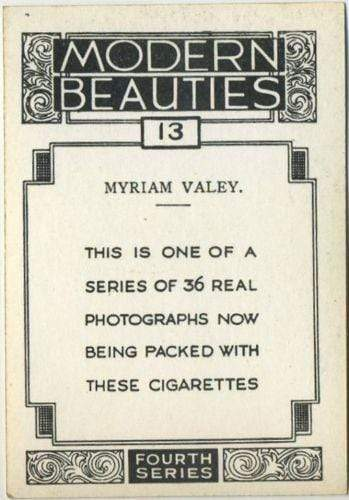 Myriam Valey 1938 BAT Modern Beauties XL Tobacco Card Series 4 #13