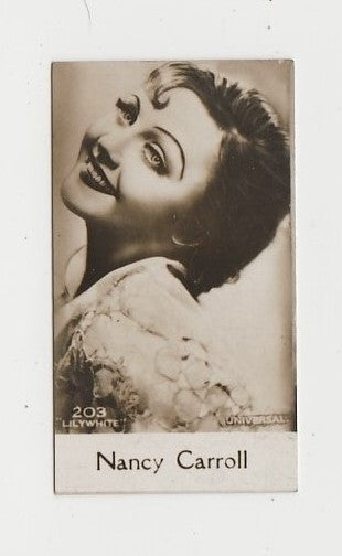 Nancy Carroll 1930 De Beukelaer Film Stars Small Trading Card #203