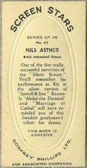 Nils Asther 1936 Godfrey Phillips Screen Stars Tobacco Card #41