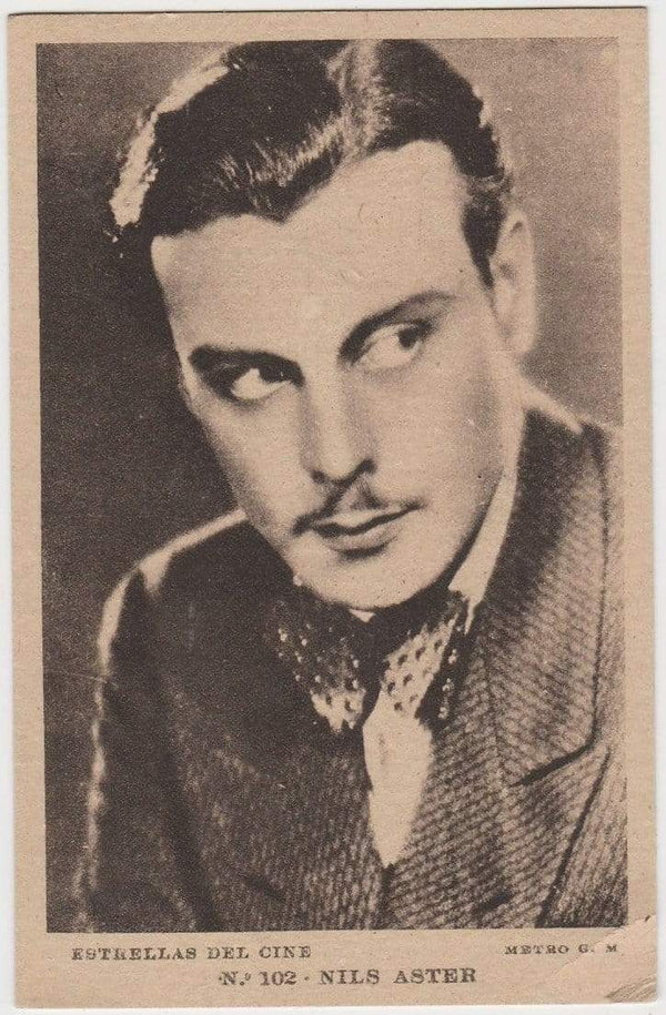 NILS ASTHER Vintage 1930s Estrellas del Cine #102 POSTCARD from Spain