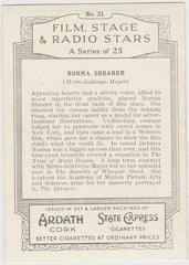 Norma Shearer 1935 Ardath Film, Stage & Radio Stars XL Trading Card #21