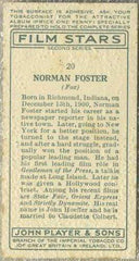 Norman Foster 1934 John Player Film Stars Tobacco Card 2nd Series #20