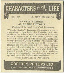 Pamela Stanley 1938 Godfrey Phillips Characters Come to Life Tobacco Card