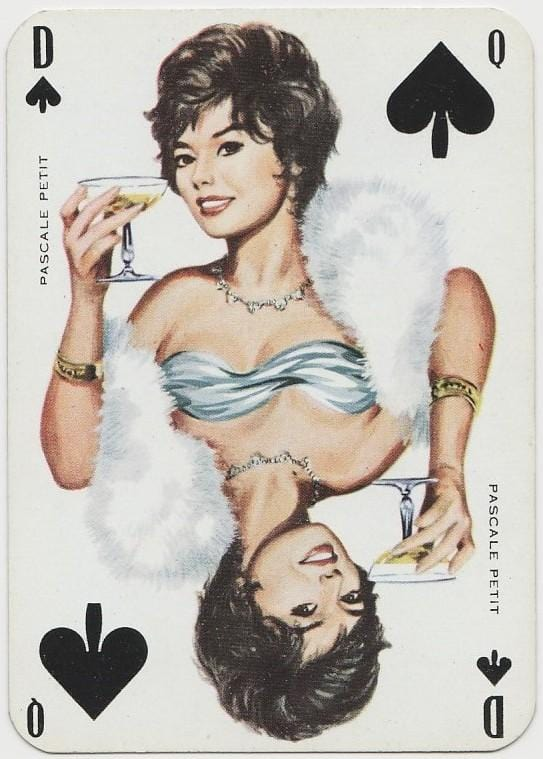 Pascale Petit 1950s Film Star on Blue Stallion Back Playing Card