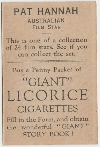 Pat Hannah 1932 Australian Giant Licorice Film Stars Trading Card