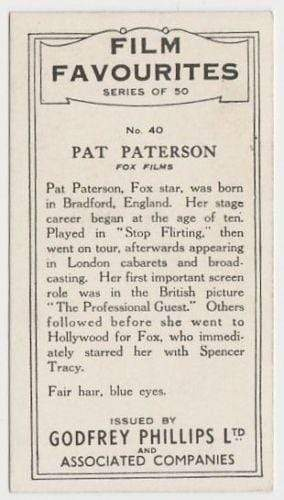Pat Paterson 1934 Godfrey Phillips Film Favourites Tobacco Card #40