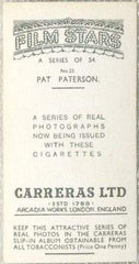 Pat Paterson 1937 Carreras Film Stars Tobacco Card #22