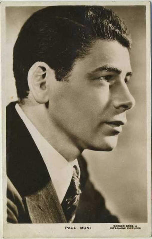 Paul Muni 1930s Real Photo Postcard - RPPC Warner Brothers Movie Star