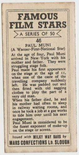 Paul Muni 1939 Mars Confections Famous Film Stars Trading Card #46