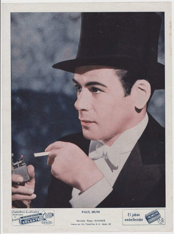 Paul Muni circa 1937 COLGATE PALMOLIVE Movie Star Premium Photo from Cuba