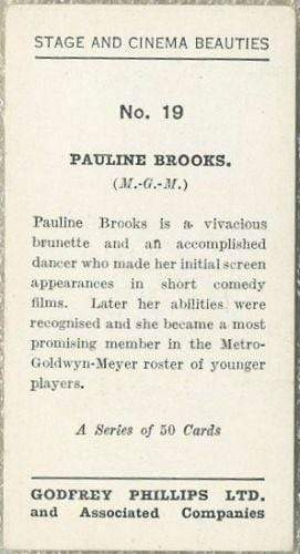 Pauline Brooks 1935 Godfrey Phillips Stage and Cinema Beauties Tobacco Card #19