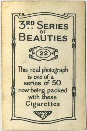 Peggy Vere 1926 BAT 3rd Series of Beauties Tobacco Card #22