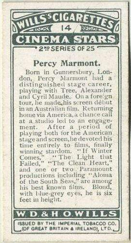 Percy Marmont 1928 Wills Cinema Stars Tobacco Card Series 2 #14
