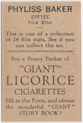 Phyliss Baker 1932 Australian Giant Licorice Film Stars Trading Card
