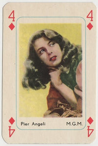 Pier Angeli Vintage 1950s Maple Leaf Playing Card of Film Star