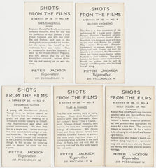 Lot of 5 Vintage 1937 Peter Jackson SHOTS FROM THE FILMS Tobacco Cards