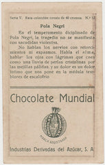Pola Negri 1920s Chocolate Mundial Paper Stock Trading Card #12