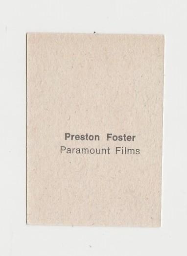 Preston Foster 1940s Paper Stock Trading Card - Film Frame Design