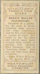 Renate Muller 1934 Wills Famous Film Stars Tobacco Card #44 - Standard Size