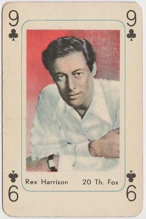 Rex Harrison Vintage 1950s Maple Leaf Playing Card of Film Star