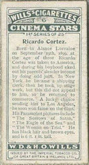 Ricardo Cortez 1928 Wills Cinema Stars Tobacco Card Series 1 #6