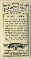 Richard Arlen 1929 Carreras Paramount Stars Tobacco Card #22 Film Star