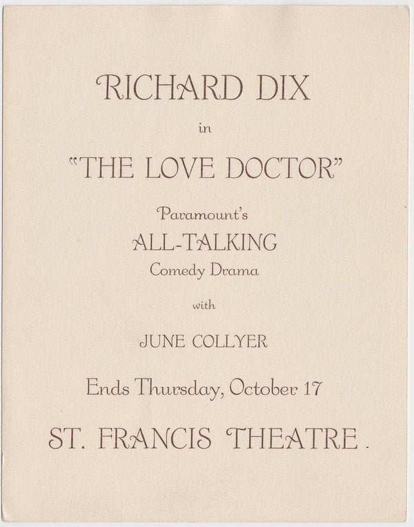 Richard Dix 1929 Movie Star Fan Photo or Promo Card THE LOVE DOCTOR Ad -Appx 5x7