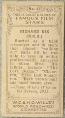 Richard Dix 1934 Wills Famous Film Stars Tobacco Card #43 - Standard Size