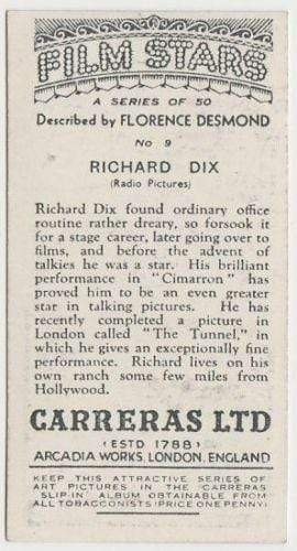 Richard Dix 1936 Carreras Film Stars by Desmond Tobacco Card #9